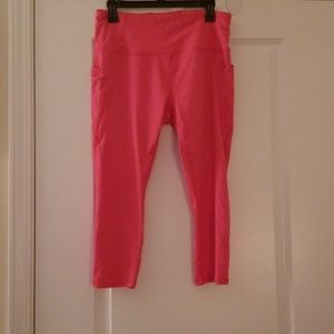 Pink! RBX workout capris with cell phone pocket
